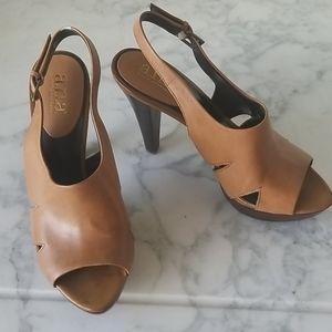 A.N.A. Brown Leather Heels - 6.5